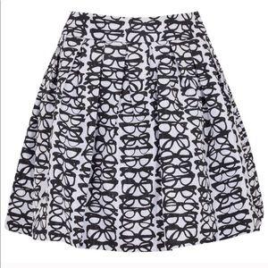 Alice + Olivia Fizer Black White Glasses Skirt